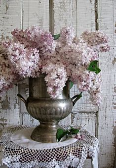 Champagne Bucket Idea... Lovely Lilacs...in a shabby silver bowl.