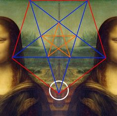 There are also the sacred symbol of the Pythagorean secret society in the background of Mona Lisa of Louvre. This is a remarkable evidence that Leonardo da Vinci was a member of, at least some, secret society. Mona Lisa Secrets, Mona Lisa Images, Mona Friends, Mona Lisa Parody, Sacred Symbols, Freemasonry, Strange Things, Pentacle, Time Travel