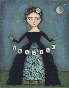 I am loving mixed media artist Julie Ippoliti found on blog Pencils and Fireflies.