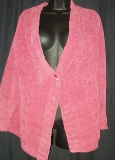 $25.99 J Jill Rose Pink Chenille Single Button Cardigan Sweater M