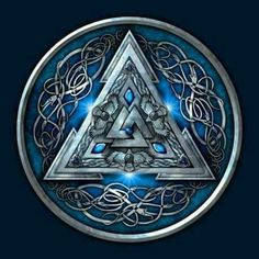 Shop Blue Norse Valknut viking t-shirts designed by NaumaddicArts as well as other viking merchandise at TeePublic. Norse Pagan, Viking Symbols, Norse Mythology, Norse Tattoo, Celtic Tattoos, Viking Tattoos, Tribal Tattoos, Viking Art, Viking Warrior