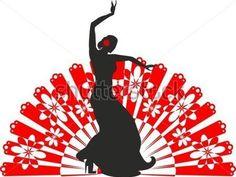 Silhueta de dançarina de flamenco com um fã