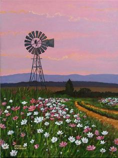 Windmill Art, Farm Windmill, Old Windmills, Farm Paintings, Landscape Paintings, Pictures To Paint, Nature Pictures, Cosmos Flowers, Country Scenes