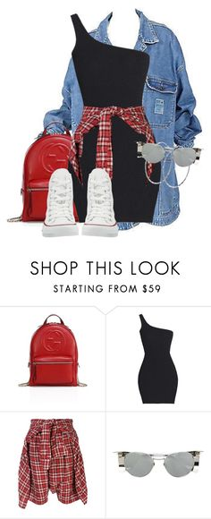 """""""Untitled #3801"""" by xirix ❤ liked on Polyvore featuring Gucci, R13, Converse and Linda Farrow"""