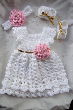 Crochet baby dress hat and shoes set in white pink baby clothes first outfit take Newborn dress home hospital matineeDiscover thousands of images about Baby Girl Set Dress Headband & Shoes by StonehouseGalsThis Pin was discovered by LucLovely Motif D Crochet Baby Dress Free Pattern, Baby Dress Patterns, Baby Girl Crochet, Crochet Baby Clothes, Crochet For Kids, Crochet Patterns, White Baby Dress, Beautiful Crochet, Baby Knitting