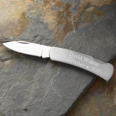 Personalized Silver Pocket Knife