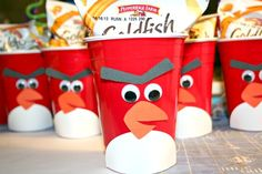 Make Angry Birds red party plastic cups - make. For Bryson :) Bird Theme Parties, Bird Birthday Parties, Fun Party Themes, Bird Party, Boy Birthday, Party Ideas, Birthday Ideas, Kid Parties, Cute Snacks