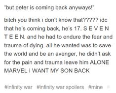 Infinity war peter parker