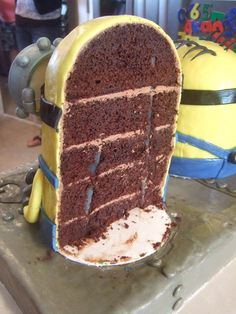 The inner workings of a minion cake.