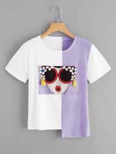 Shop Plus Fringe Detail Asymmetric Hem T-shirt online. SHEIN offers Plus Fringe Detail Asymmetric Hem T-shirt & more to fit your fashionable needs. Diy Fashion, Ideias Fashion, Fashion Outfits, Fashion Design, Stylish Outfits, Fashion Women, Mode Choc, Rosa T Shirt, Lunette Style