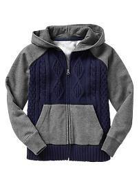 Gap Mix-media zip hoodie for boys