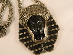 Vintage 1970s Egyptian Pendant / Silver and Black Necklace / Egyptian Queen by VintageBaublesnBits, $75.00 #vjse #jewelry