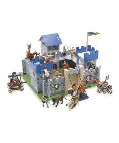 Le Toy Van Castle Playset, Excalibur Castle Premium Wooden Toys for Kids Ages 3 Years & Up Wooden Toy Castle, Wooden Toys, Camelot Castle, Arty Toys, Excalibur, Model Castle, Château Fort, Blue Accents, Made Of Wood