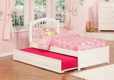 Windsor White Wood Twin Bed w/Flat Panel Footboard