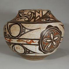 #adobegallery - Historic Zuni Pueblo 19th Century Polychrome Olla with Capped Spirals
