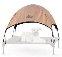 The K&H Pet Cot Canopy shades any pet from harsh summer sunlight. Guaranteed to help your pet have a cool summer! The simple design just plugs into the corners of the cot and safely secures with bungee straps riveted in the corners. This is the easiest, simplest design for assembly. Use with [K&H Pet Products Pet Cot][K_H Pet Products Pet Cot] (sold separately).  [K_H Pet Products Pet Cot]: https://www.chewy.com/kh-pet-products-pet-cot-chocolate/dp/102987