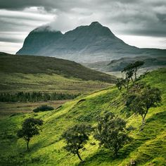 Suilven in lush green surroundings, Sutherland, Scotland