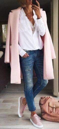 #winter #outfits white button-up dress shirt, pink topcoat, and distressed blue denim fitted jeans  I love pink
