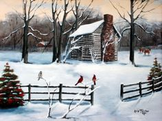 Folk-Art-Wall-Home-Decor-Arie-Log-Cabin-Snow-Cardinal-Holly-Red-Bird-Deer-Print