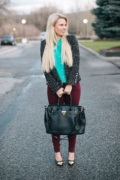 Burgundy & Green Blouse. Cute and unexpected combo!