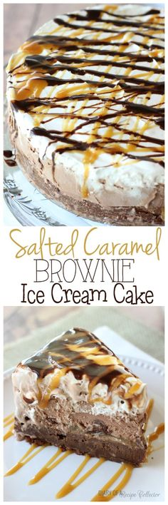 >>>Cheap Sale OFF! >>>Visit>> Salted Caramel Brownie Ice Cream Cake - Layers of rich brownie filled with toffee salted caramel dark chocolate truffles chocolate ice cream and whipped cream topped with drizzles of chocolate syrup and more salted caramel. Brownie Ice Cream, Ice Cream Treats, Ice Cream Desserts, Frozen Desserts, Ice Cream Recipes, Just Desserts, Delicious Desserts, Yummy Food, Ice Cream Cakes