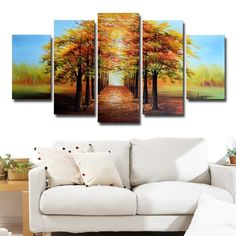 This landscape painting is 100-percent hand painted on premium quality cotton canvas in the highest quality oil paint. This design is sure to be the center piece of any room it is placed in. All of ou