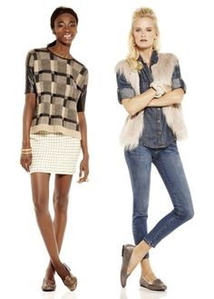 I like the outfit on the right; denim on denim, fur vest, and loafers