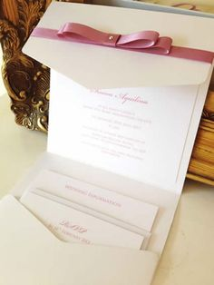 Vintage Dusky Pink Pocket Fold Wedding Invitations - ELS Design