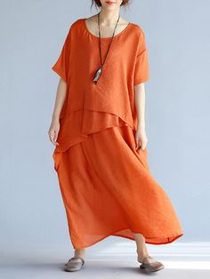 Casual Crew Neck Half Sleeve H-line Solid Maxi Linen Dress – RosyMerry