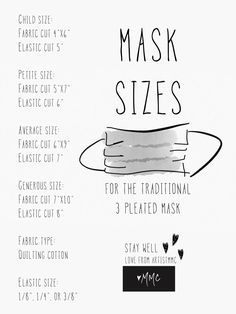 Size chart for pleated mask for children and adults. Sewing Hacks, Sewing Tutorials, Sewing Patterns, Sewing Tips, Sewing Ideas, Sewing Basics, Quilt Tutorials, Easy Face Masks, Diy Face Mask
