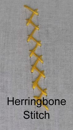 Herringbone Stitch, How to work a Herringbone stitch (Step by Step, Video) – Handstickerei Embroidery Stitches Tutorial, Sewing Stitches, Hand Embroidery Patterns, Diy Embroidery, Embroidery Techniques, Cross Stitch Embroidery, Embroidery Designs, Sewing Patterns, Machine Embroidery