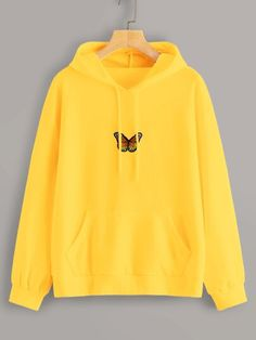 Shop Neon Yellow Butterfly Embroidery Drawstring Hoodie at ROMWE, discover more fashion styles online. Stylish Hoodies, Comfy Hoodies, Hoodie Outfit, Sweater Hoodie, Girls Fashion Clothes, Teen Fashion Outfits, Fashion Dresses, Woman Clothing, Cute Comfy Outfits