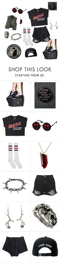 """""""#ContestOnTheGo #ContestEntry"""" by benevolent-bby ❤ liked on Polyvore featuring Forever 21, Linda Farrow, Palm Angels, Kenneth Jay Lane, Joomi Lim, Topshop, Noemi Klein, Trukfit, contestentry and ContestOnTheGo"""
