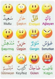 Feelings in Turkish Arabic Alphabet Letters, Arabic Alphabet For Kids, Turkish Lessons, Arabic Lessons, Learn Turkish Language, Arabic Language, English Language Learning, Teaching English, Learn Arabic Online