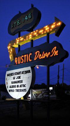 Rustic Drive-In Movie theatre lightbulb neon sign