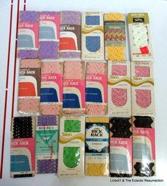 Vintage Rick Rack Sewing Trim Lot 18 Packages NIP Medium Jumbo Baby New in Pkg #Various