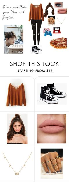 """Pizza and Video Game Date with Jungkook"" by spicy-noodle ❤ liked on Polyvore featuring Madewell, Missguided, Gucci, Nintendo, kpop, bts, jungkook and jeonjungkook"