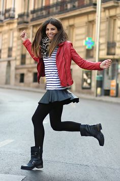 trendy_taste-look-outfit-street_style-red_leather_jacket-it_shoes-black_boots-botas_negras-striped_tee-camiseta_rayas-leo_scarf-zara-polaroid by Trendy Taste, via Flickr