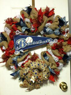 Large Burlap Baseball Pennant Wreath Spring Summer Mothers Day Easter Boys Room Baby Nursery Decor Americana Red White Blue Mesh Ribbon Bow