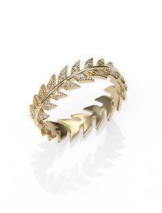 Mizuki Diamond & 14K Yellow Gold Feather Eternity Band Ring