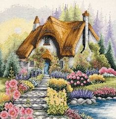 Cute cottage and pretty flowers (144 pieces)