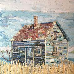 "13 Likes, 4 Comments - Neysa Bills Winterer (@neysasart) on Instagram: ""Old blue #unearthedartsmn #tornpapercollage #papercollage #cabinart"""