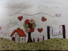 Hola chicas !!! hoy vengo con una entrada que debía haberla puesto hace días, pues se trata de nuestro segundo encuentro con mis amig... Felt Crafts Patterns, Fabric Crafts, Sewing Crafts, Sewing Projects, Lap Quilt Patterns, Applique Patterns, Applique Quilts, Hand Embroidery, Machine Embroidery