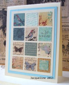 grid and inchie projects: Blue squared grid Atc Cards, Making Greeting Cards, Card Tags, Paper Cards, Paper Quilt, Damier, Home And Deco, Scrapbook Cards, Scrapbooking