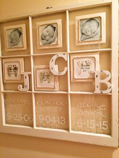 Rustic window panel infant photo collage. In these 6x6 pics each baby is 9 days old in the palm of his Daddy's hand. Newborn footprints were scanned and time of birth, weight and length were digitally added and then printed in 6x6. All prints are mounted on 8x8 foam board wrapped in canvas and then a rope border was hot glued around each picture. Finished product and wooden letters were hot glued to the window panels. I'm so in love with this!