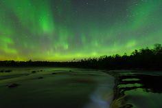 Northern Lights at Rainbow falls, Whiteshell provincial park, Manitoba, Canada.