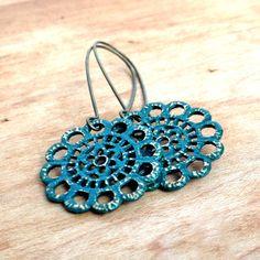 Boho Chic Brass Medallion Earrings by HeidiLee Design