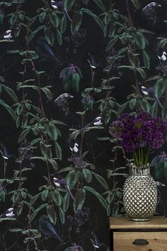 Folia Dark Wallpaper By Witch And Watchman - Folia wallpaper was designed by taking inspiration from birds, animals, trees and flowers and a longstanding love of wall-murals and the 'maximalist' wallpapers often found in stately homes and palaces. Looking to create designs that resemble a modern take on Chinoiserie, this paper is about a bold wallpaper that makes a statement rather than just a mere wallcovering.