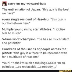 This just shows you how hard someone can be on theirselves because they think they aren't good enough Yuri On Ice Comic, Katsudon, Yuuri Katsuki, Yuri Plisetsky, Ice Ice Baby, Anime, Haikyuu, The Help, Fangirl Problems