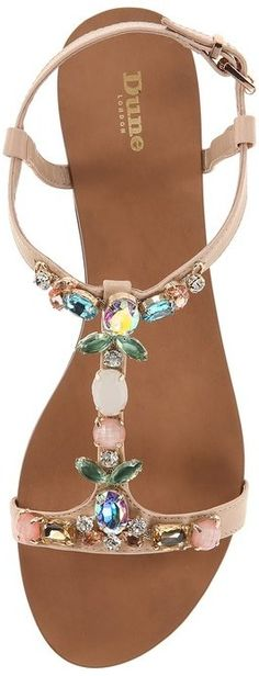 Dune London Khloe Crystal & Leather Sandal - glam iridescent summer sandals